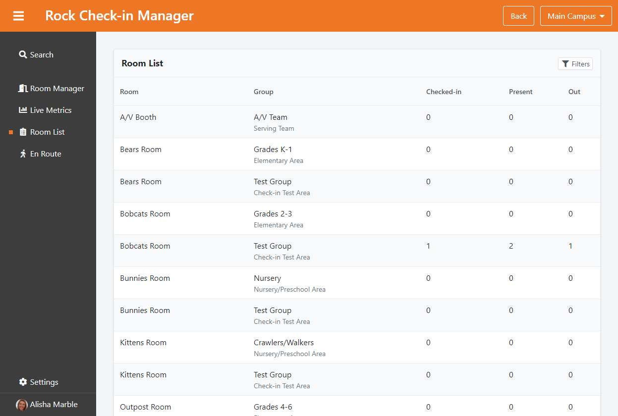 Check-in Manager - Room List