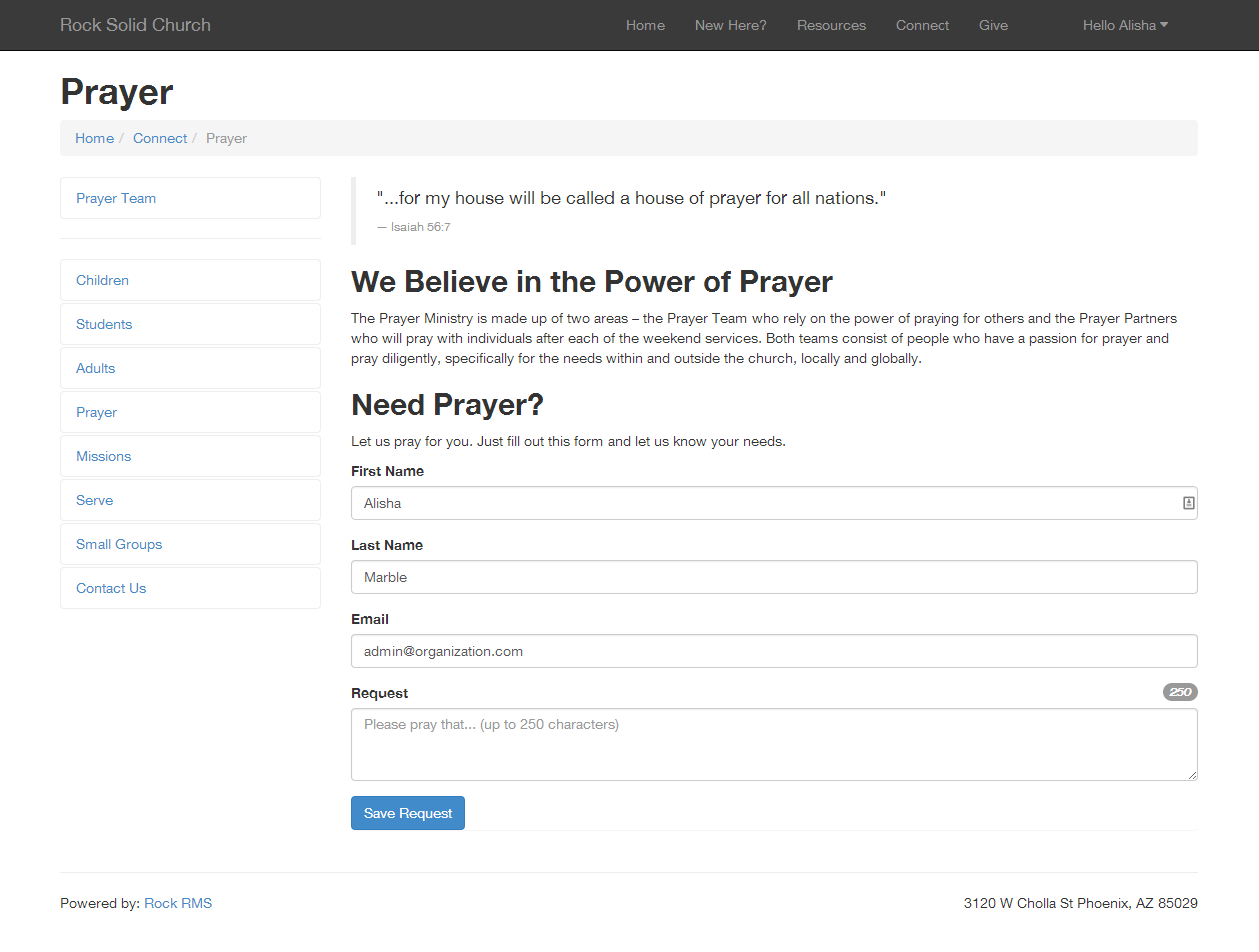 Adding a Prayer Request