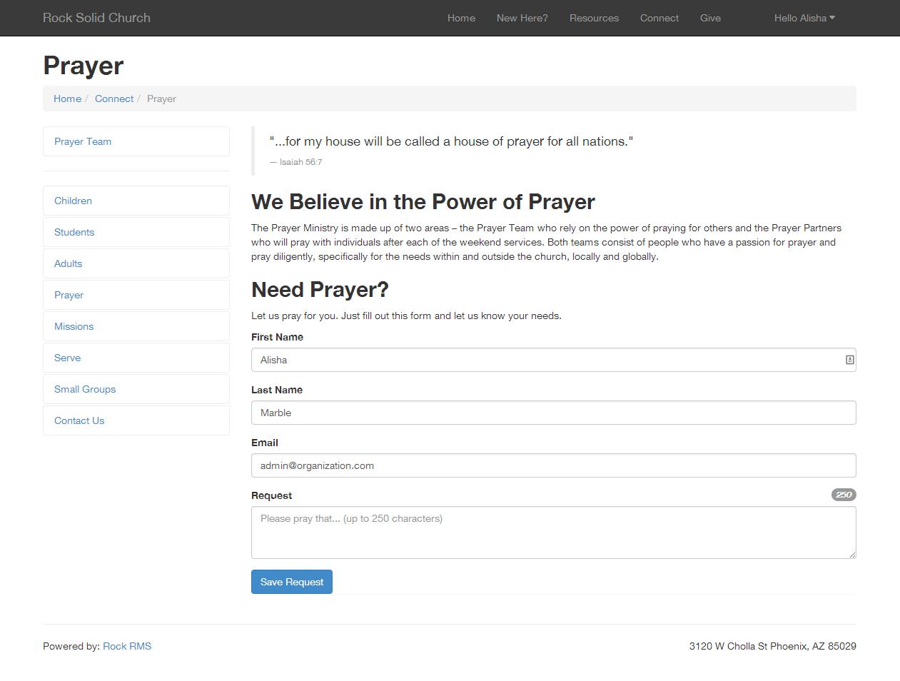 Adding a Prayer Request