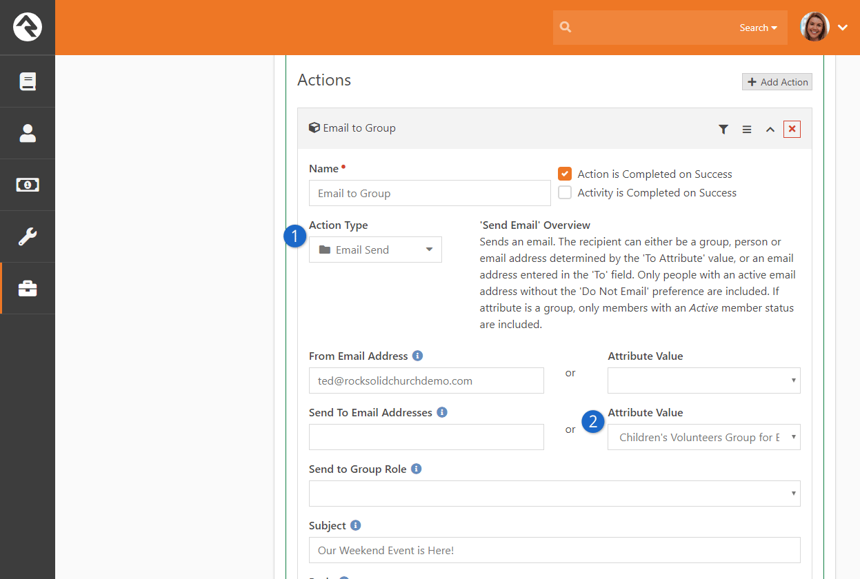 Configure Email Send Action