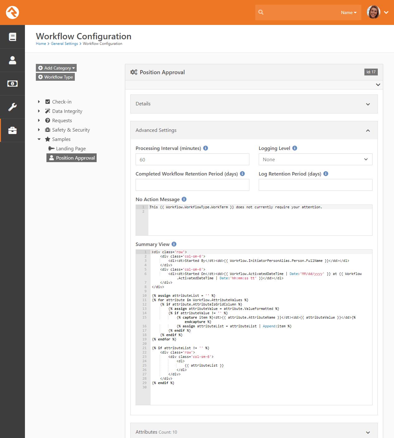 Workflow Advanced Settings