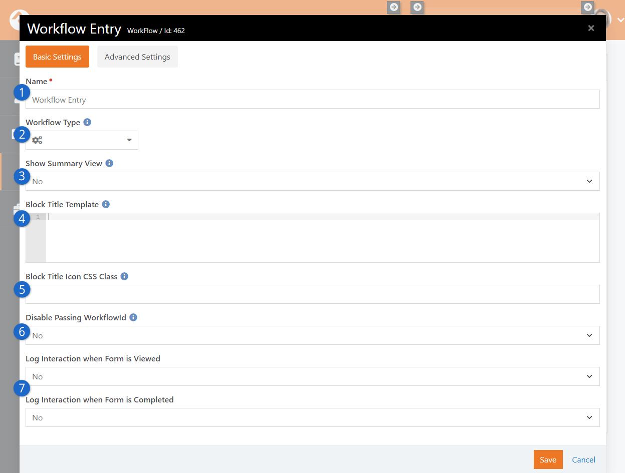Workflow Entry Block Settings