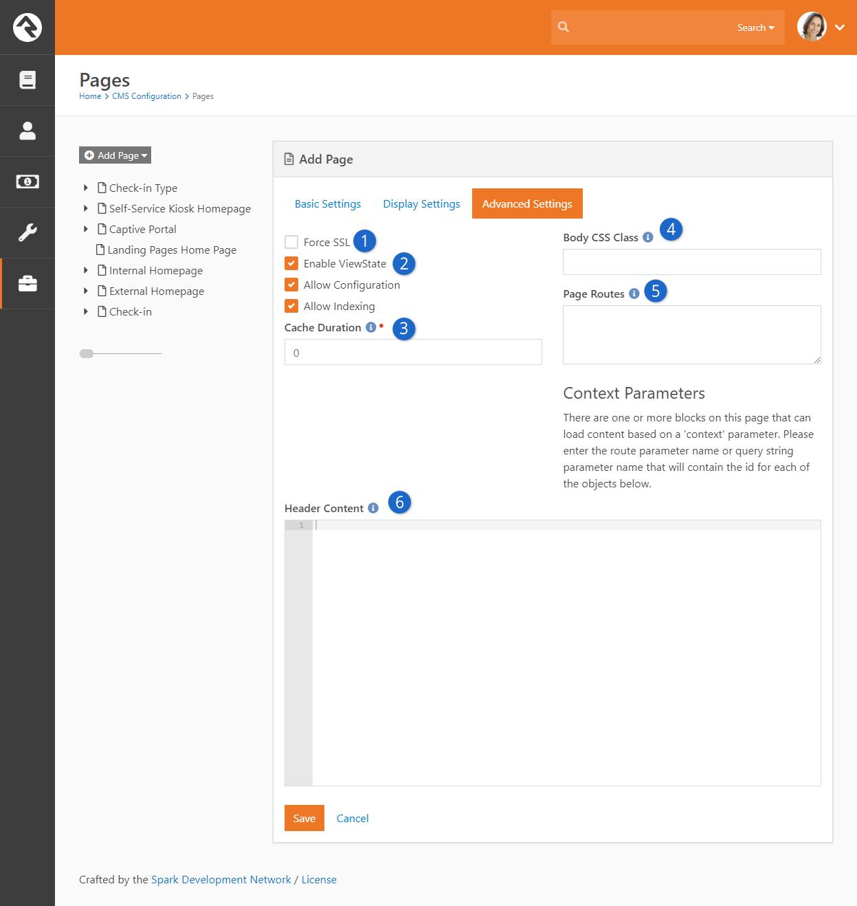 Add Page - Advanced Settings