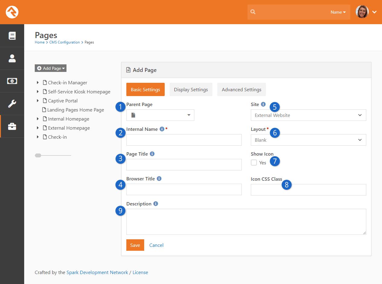 Add Page - Basic Settings
