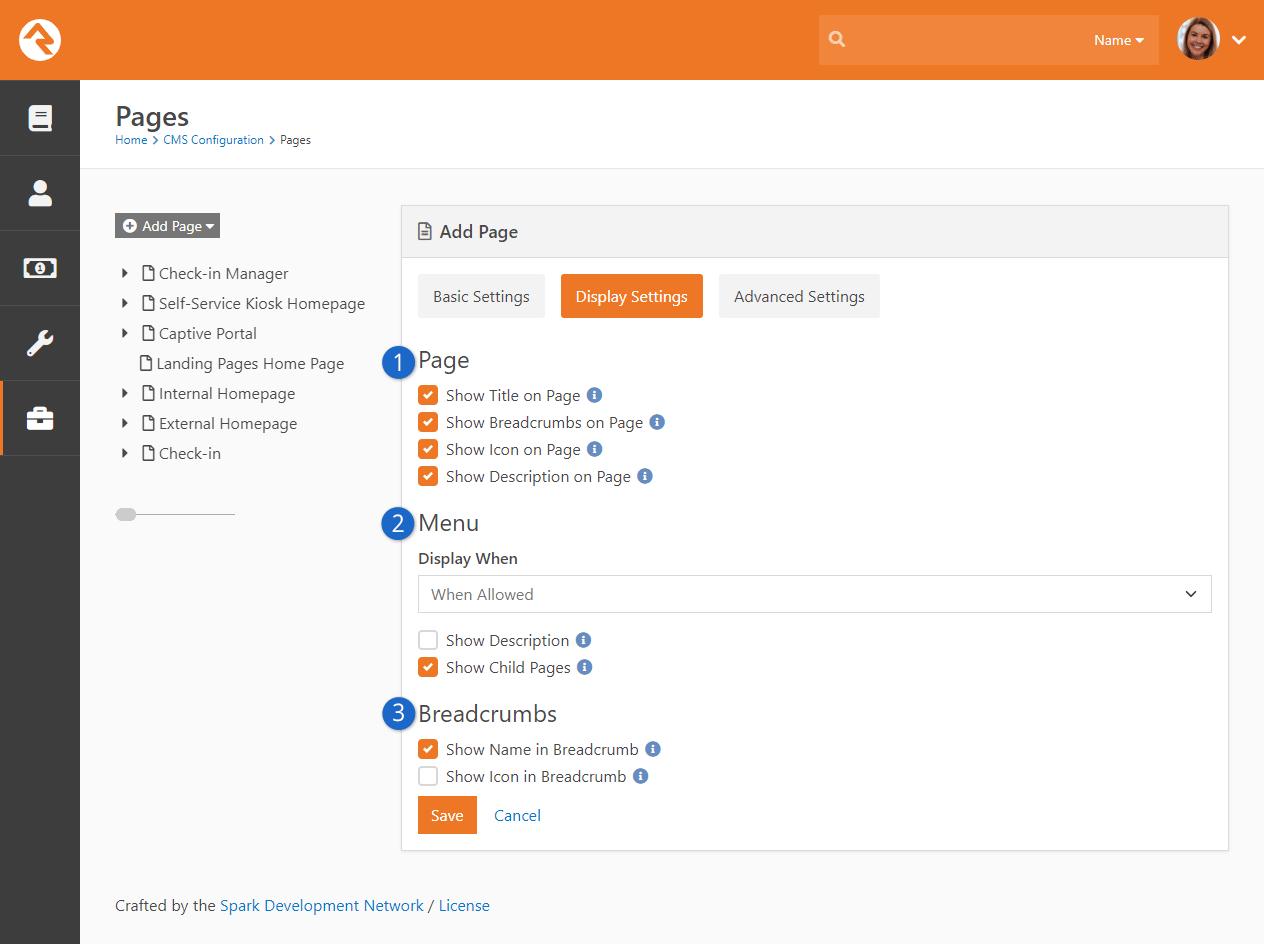 Add Page - Display Settings