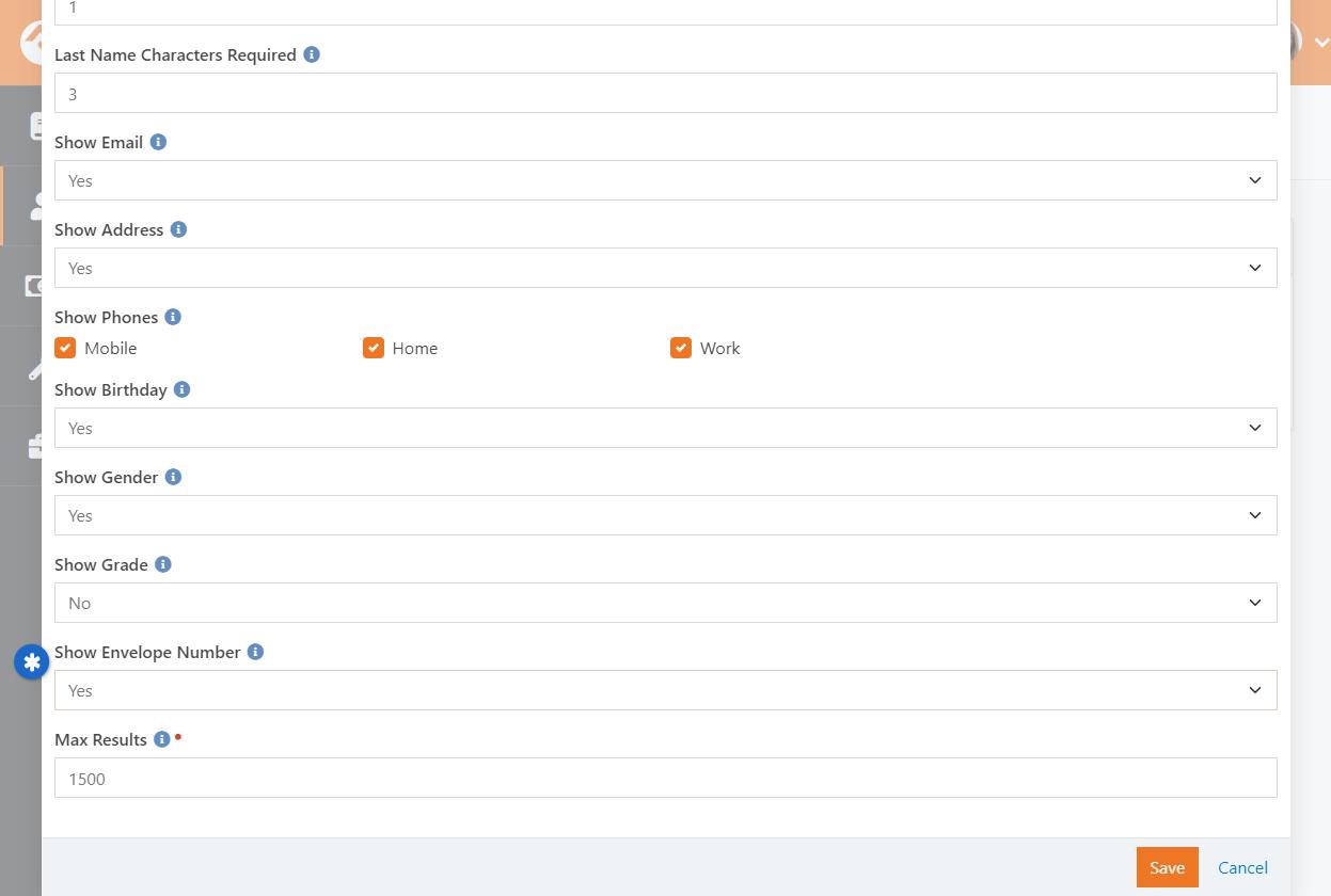 Directory Search Block Settings