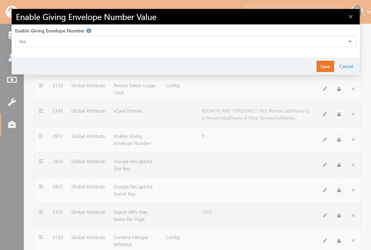 Enable Envelope Number Global Attribute