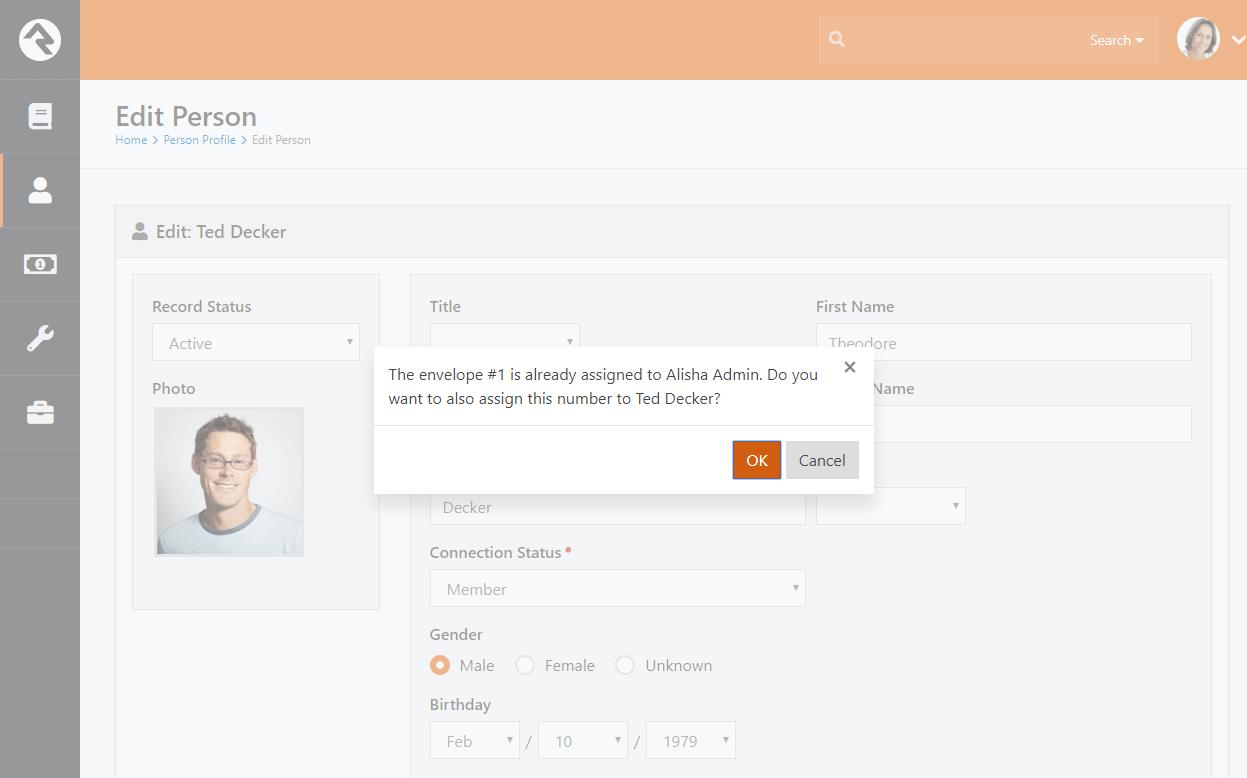 Person Profile Envelope Number Alert