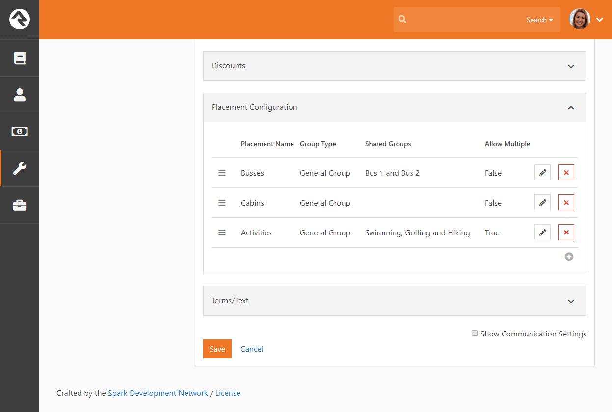Registration Template Placement Configuration