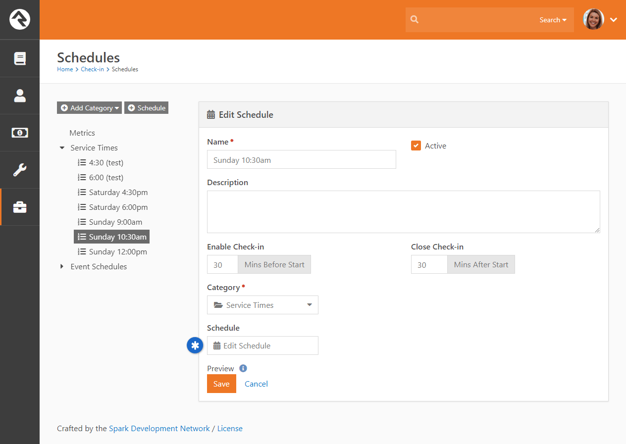 Manage Check-in Schedule