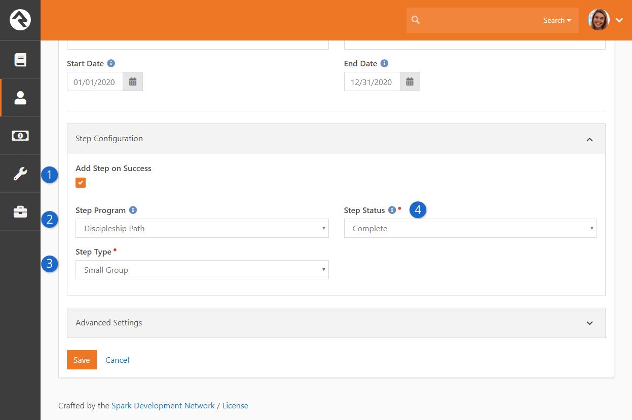 Achievement Type Step Configuration