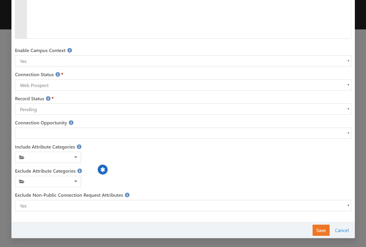 Connection Signup Block Settings