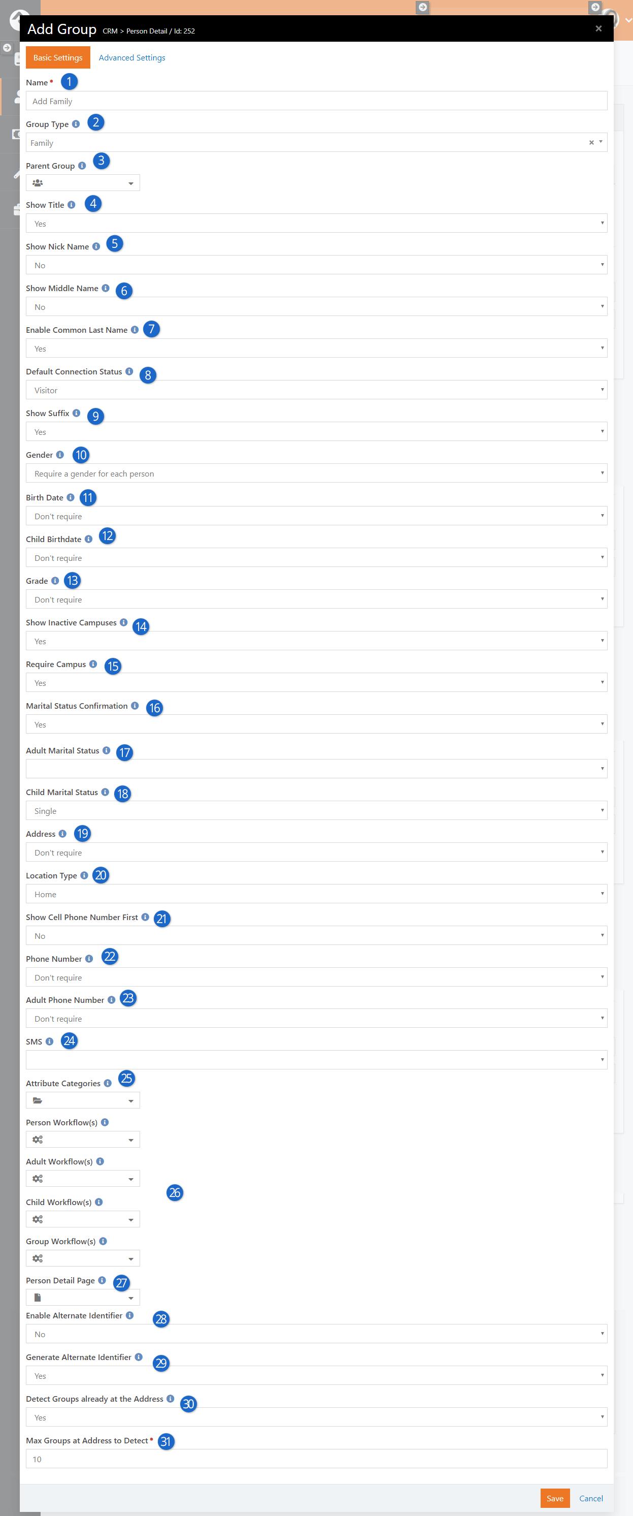 Add Family Block Settings