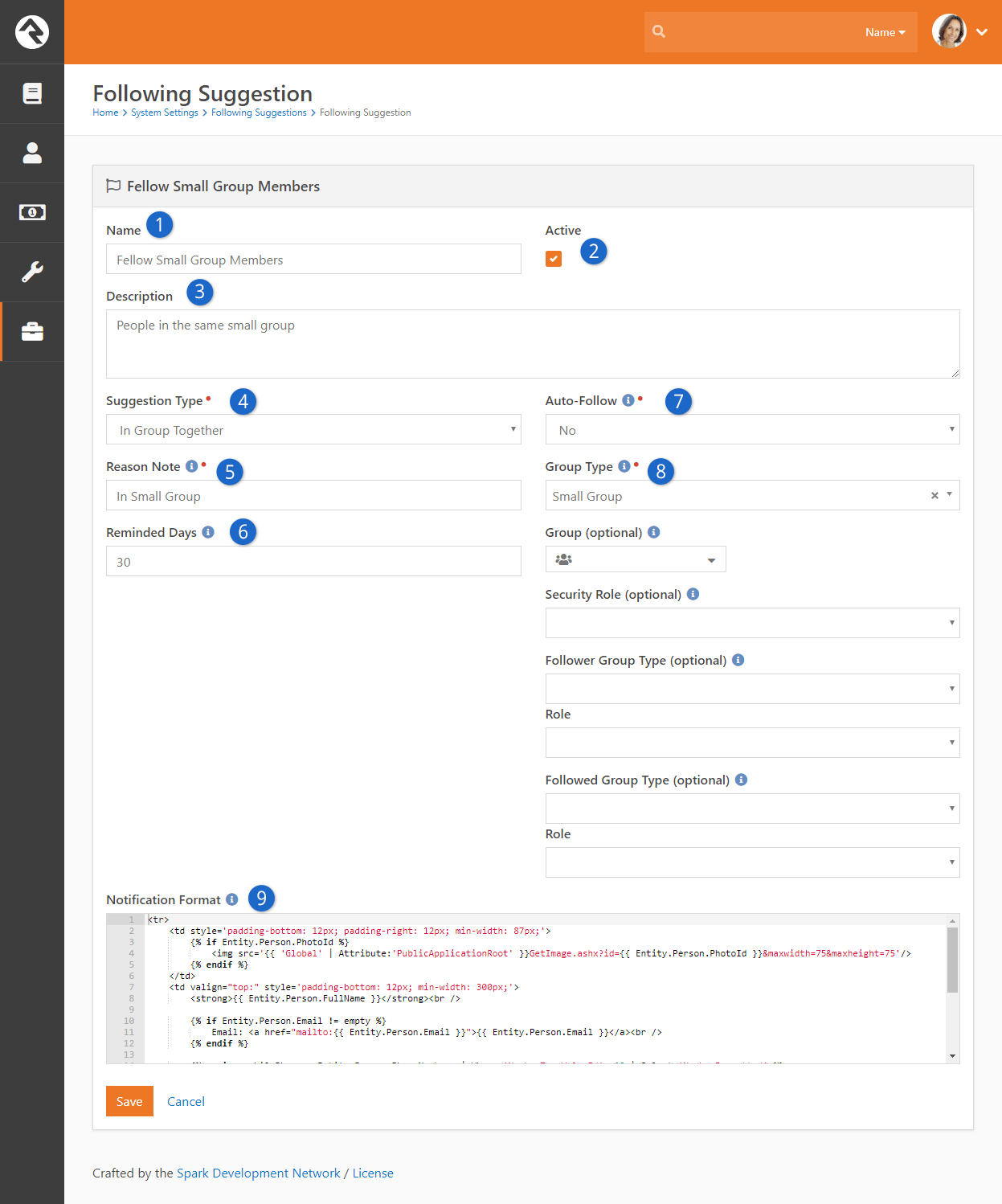 Following Suggestion Configuration