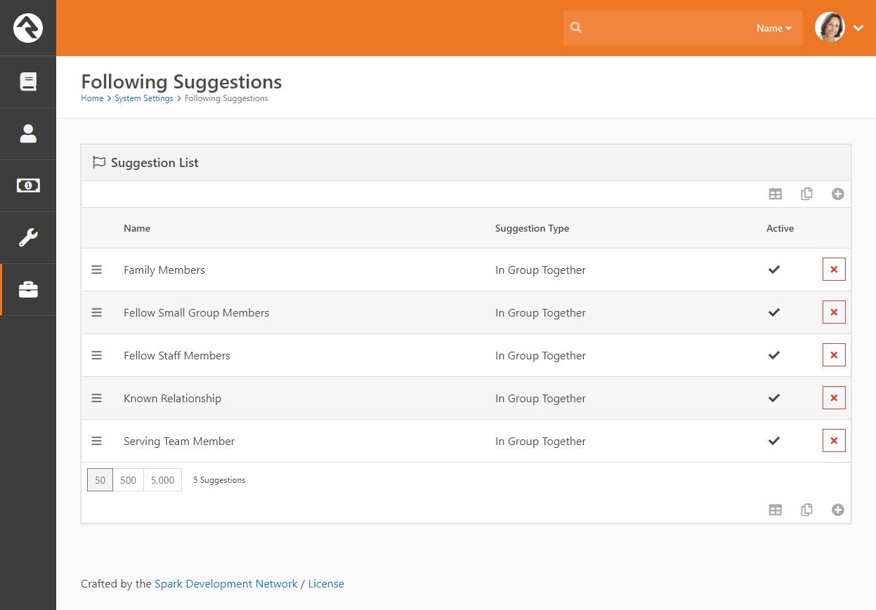 Following Suggestion Type List