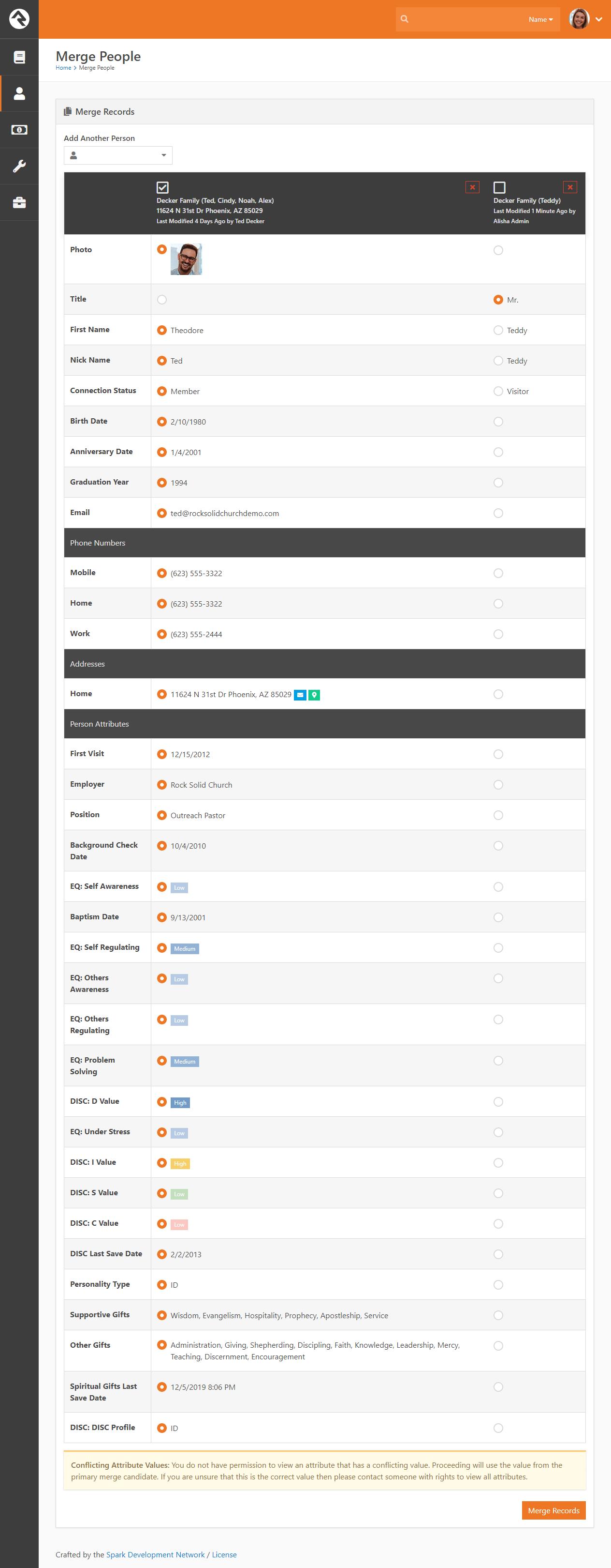 Merge Screen