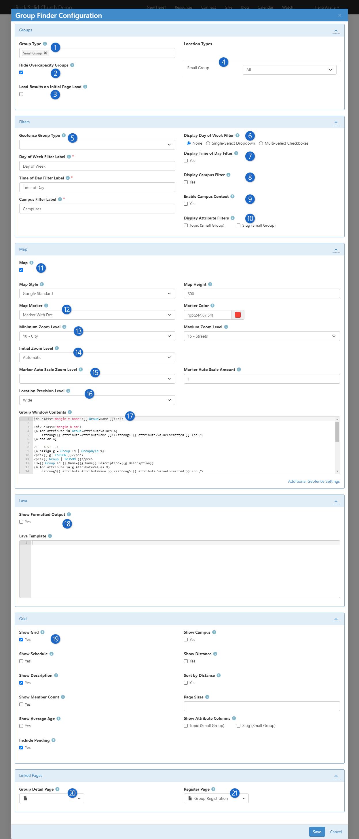 Group Finder Block Settings