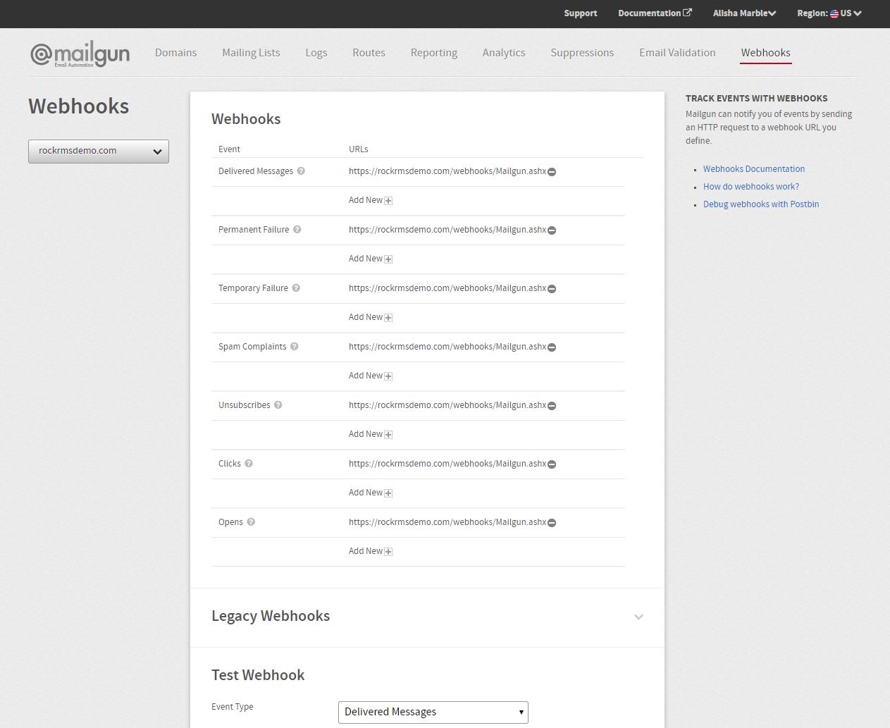 Mailgun Webhooks