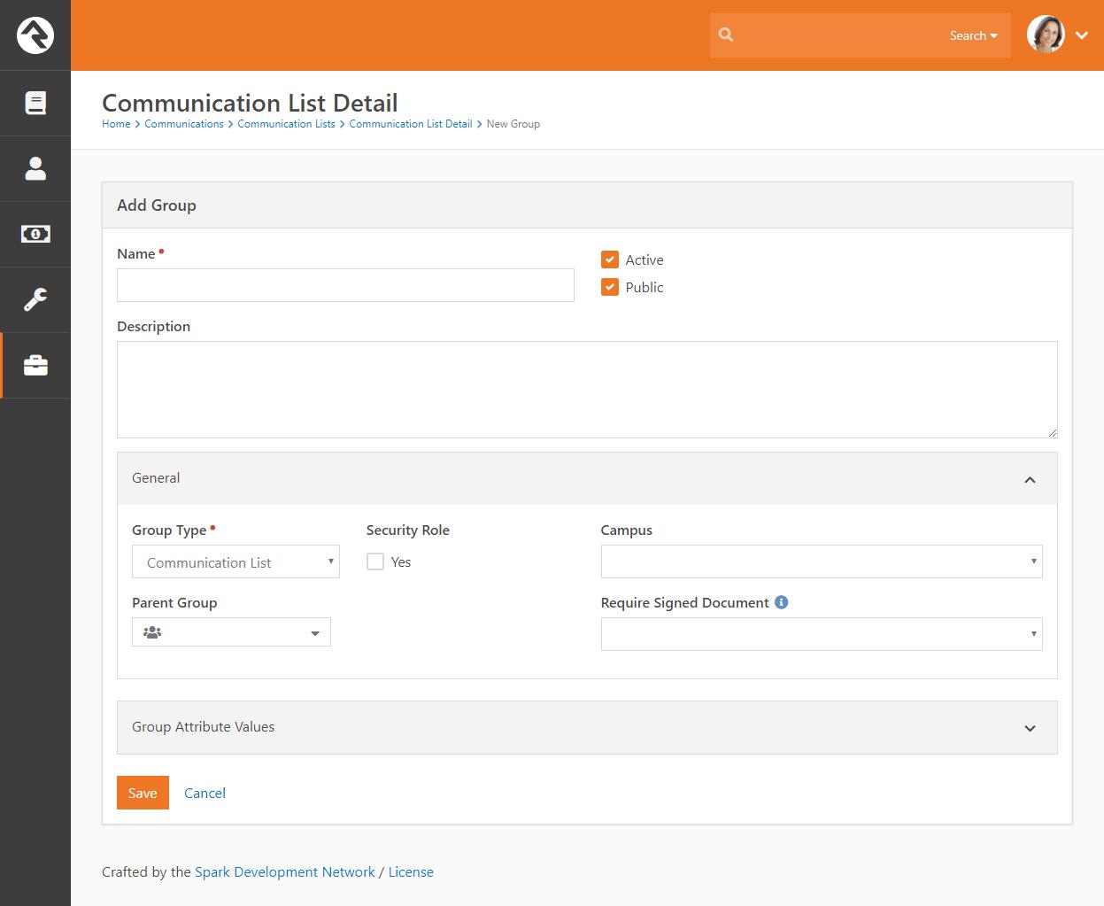 Communication List Add New
