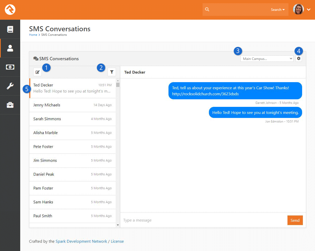 SMS Conversation Page