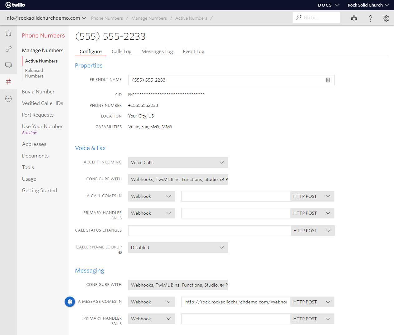 Configuring the Twilio Webhook