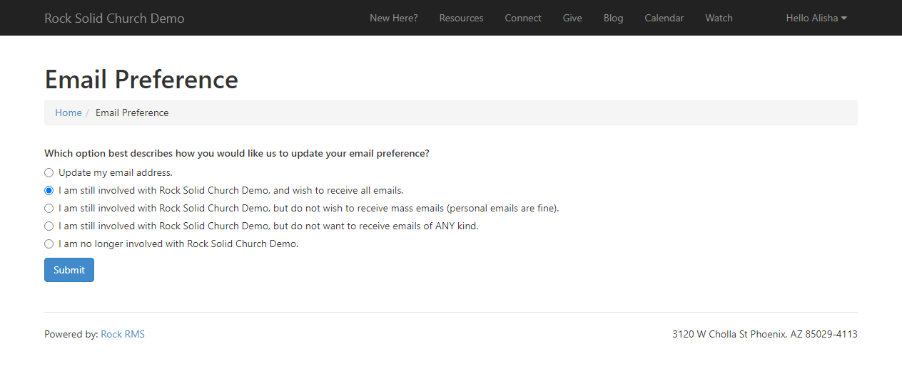 Unsubscribe Page