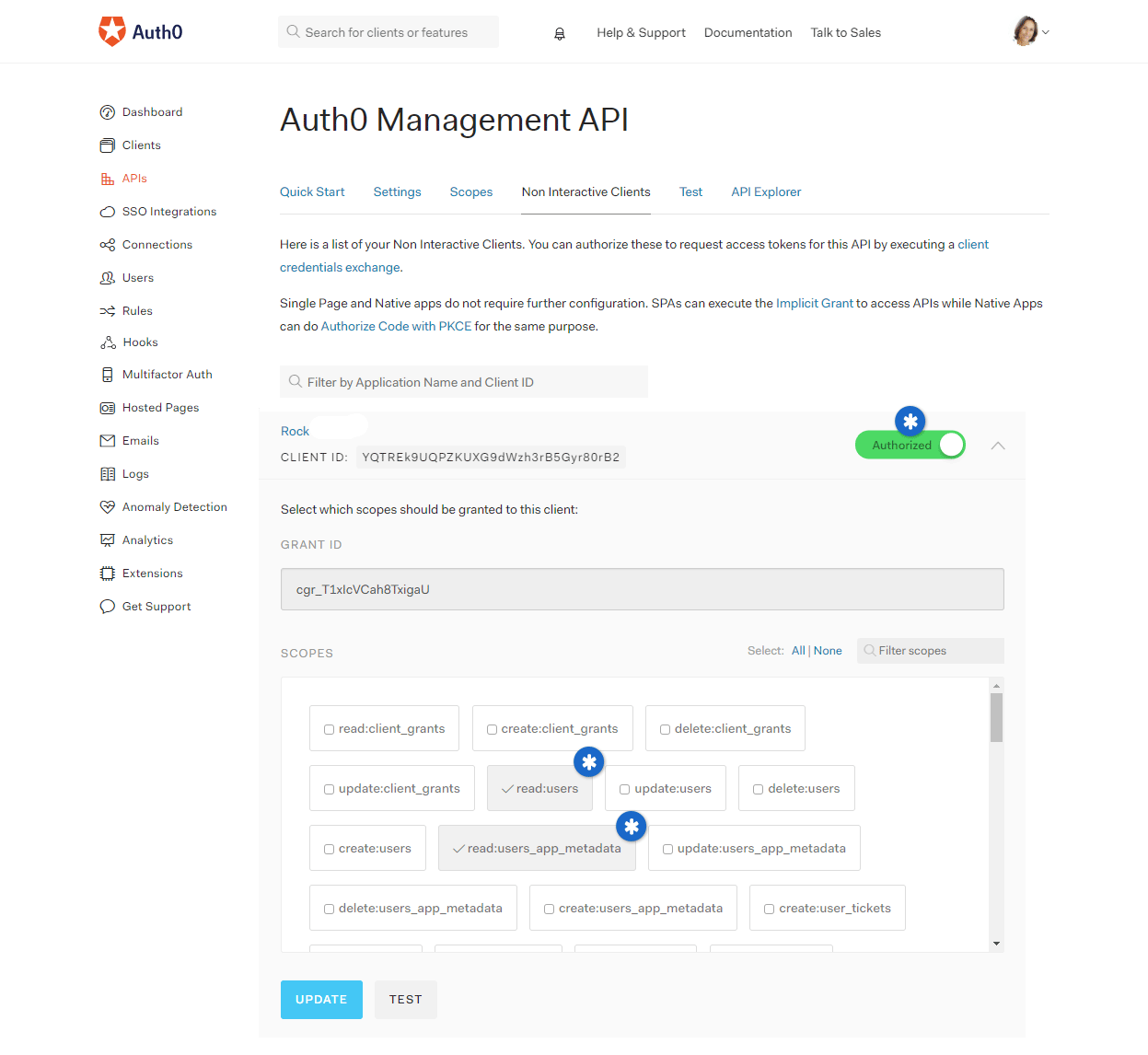 Auth0 Rock Internal Screen