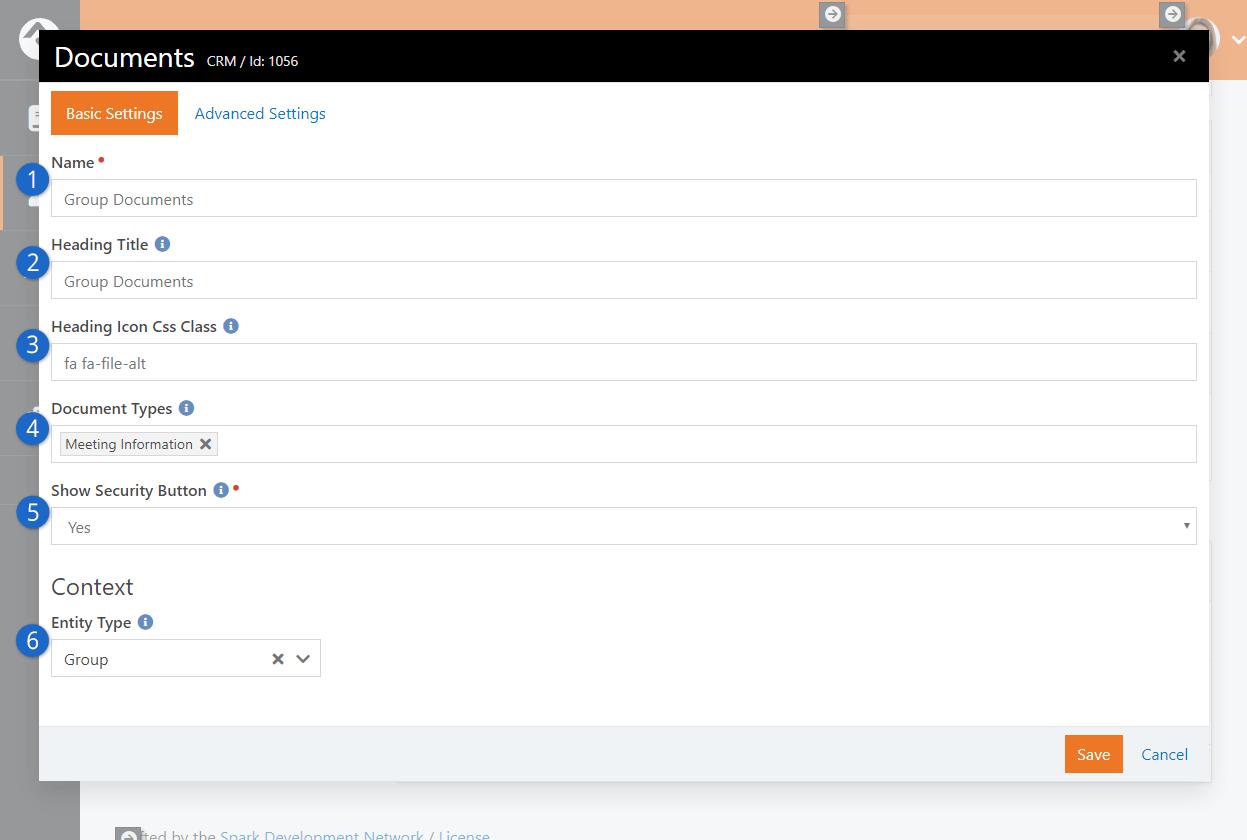 Documents Block Settings